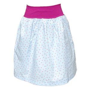 Nadýchaná bavlněná dámská sukně. Blankytně modrá s růžovími puntíčky. Dvě kapsy. pohodlný, široký pas, vhodný i pro těhotné. Sukně ke kolenům. JeToBájo