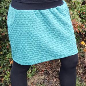 originální dámská zimní sukně, vaflový vzor, dvě kapsy, zelenkavá barva, ruční výroba v české republice, je-to-bajo