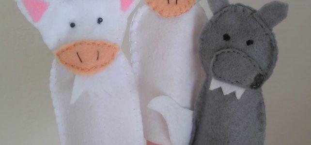 prstové figurky pohádka o kůzlátkách, autorský výrobek a šablona jetobájo