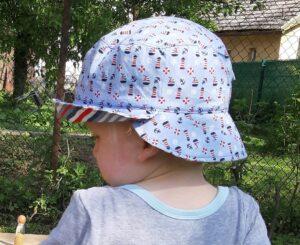 Letní dvoukrempový klobouček pro dítě. Ideální ochrana před sluníčkem. ručně šité v čr, Je to Bájo